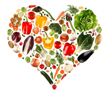 Image of fruits and vegetables in a heart shape.